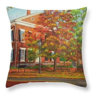 Dahlonega's Gold Museum In Autumn Throw Pillow
