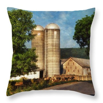 Dairy Farming Throw Pillow by Lois Bryan