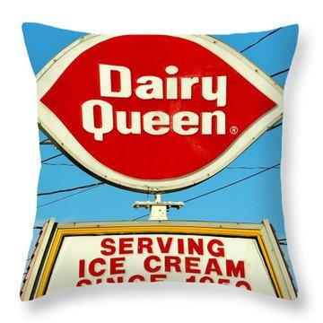 Dairy Queen Sign Throw Pillow by Cynthia Guinn