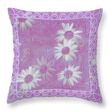 Throw Pillow featuring the photograph Daisies And Paper Lace by Sandra Foster
