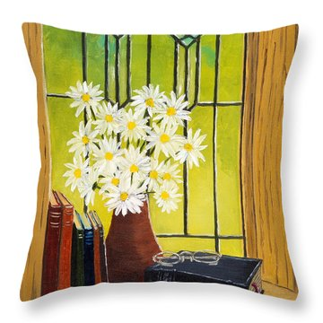Daisies And Stained Glass Window Throw Pillow
