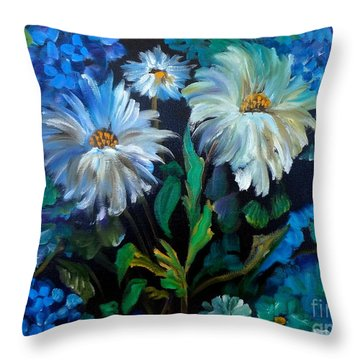 Daisies At Midnight Throw Pillow