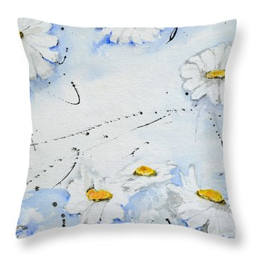 Throw Pillow featuring the painting Daisies - Flower by Ismeta Gruenwald