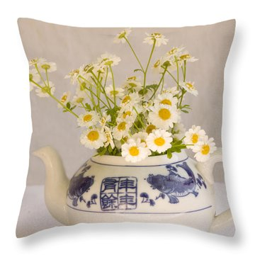 Throw Pillow featuring the photograph Daisies In A Teapot by Peggy Collins