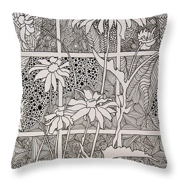 Daisies In A Window Throw Pillow