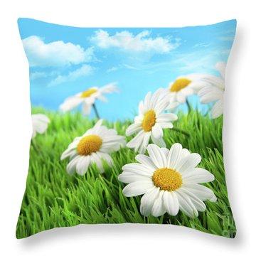 Daisies In Grass Against A Blue Sky Throw Pillow by Sandra Cunningham