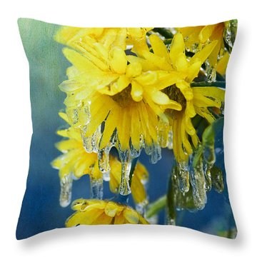 Daisies In Ice Throw Pillow by Betty LaRue