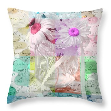 Pot Of Daisies 01a - Du Bonheur En Pot Throw Pillow by Variance Collections