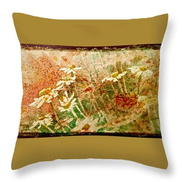 Daisies In The Wind Throw Pillow by Carolyn Rosenberger