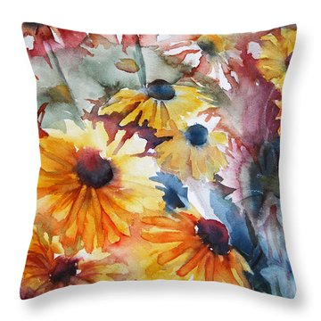 Throw Pillow featuring the painting Daisies by Jani Freimann