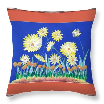 Throw Pillow featuring the painting Daisies by Ron Davidson