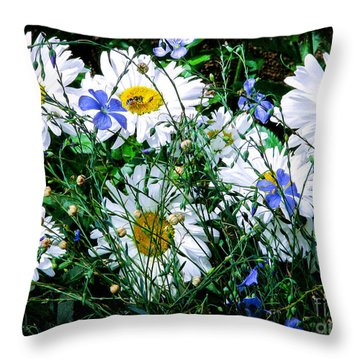 Daisies With Blue Flax And Bee Throw Pillow