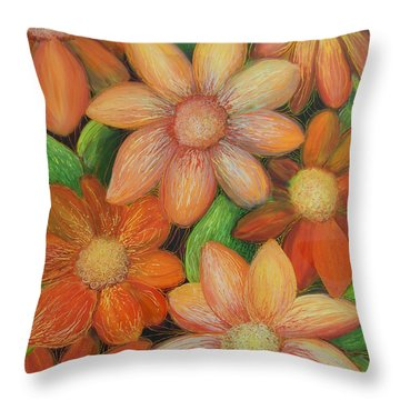 Throw Pillow featuring the painting Daisy Bouquet by Anna Skaradzinska