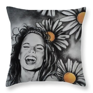 Throw Pillow featuring the drawing Daisy by Carla Carson