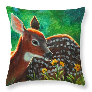 Daisy Deer Throw Pillow by Crista Forest