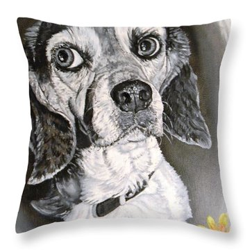 Daisy Dog Throw Pillow by Kevin F Heuman
