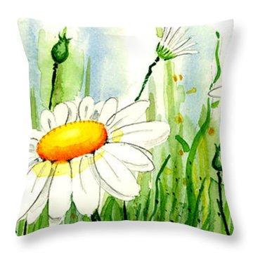 Daisy Field Throw Pillow by Annie Troe