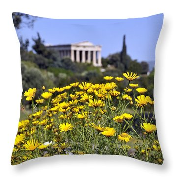Throw Pillow featuring the photograph Daisy Flowers In Ancient Market by George Atsametakis