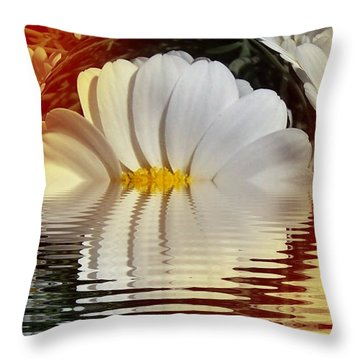 Daisy Fractal Throw Pillow by Nancy Pauling