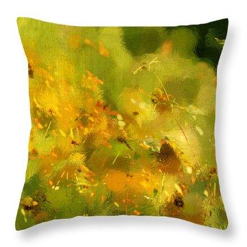 Daisy Garden Throw Pillow by Linde Townsend