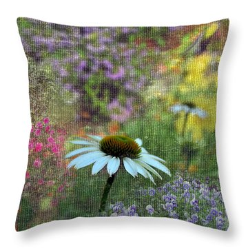 Throw Pillow featuring the photograph Daisy In The Garden by Larry Bishop