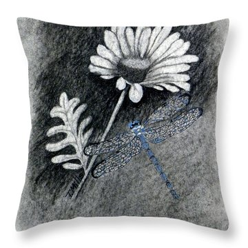 Throw Pillow featuring the drawing Daisy N Dragonfly by Terri Mills