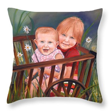 Daisy - Portrait - Girls In Wagon Throw Pillow