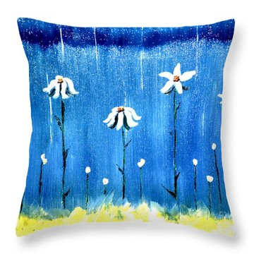 Daisy Rain Blue Throw Pillow
