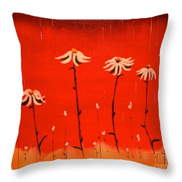 Throw Pillow featuring the painting Daisy Rain by Denise Tomasura