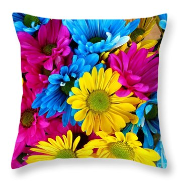 Daisys Flowers Bloom Colorful Petals Nature Throw Pillow by Paul Fearn