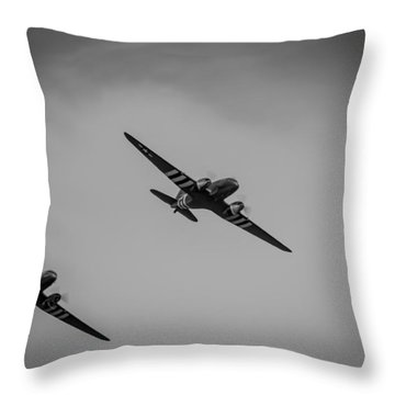 Throw Pillow featuring the photograph Dakota D-day Black And White by Scott Lyons