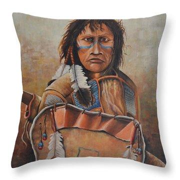 Dakota Warrior Throw Pillow by Martin Schmidt
