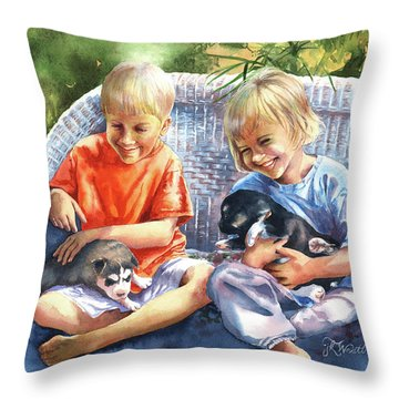 Dakotas Puppies Throw Pillow