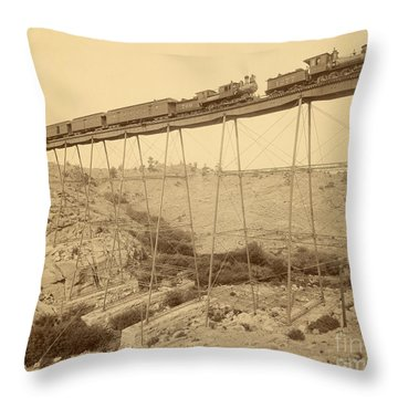 Dale Creek Bridge Union Pacific Throw Pillow by Getty Research Institute