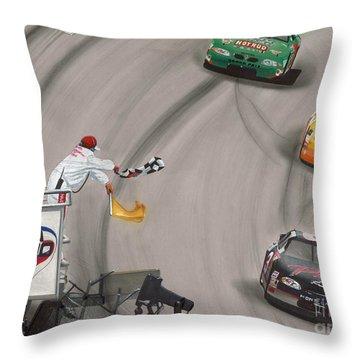 Dale Earnhardt Wins Daytona 500-checkered Flag Throw Pillow by Paul Kuras
