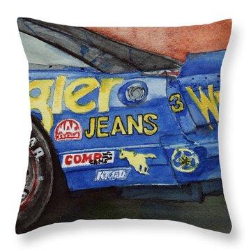 Dale Earnhardt's 1987 Chevrolet Monte Carlo Aerocoupe No. 3 Wrangler  Throw Pillow