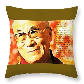 Dali Lama And Man Throw Pillow