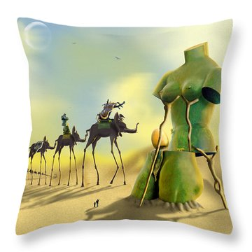 Dali On The Move  Throw Pillow by Mike McGlothlen