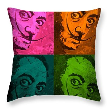 Throw Pillow featuring the painting Daliwood by Michelle Dallocchio