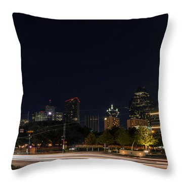 Dallas Night Skyline From Klyde Warren Park Throw Pillow