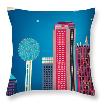 Dallas Nightime Skyline Throw Pillow by Karen Young