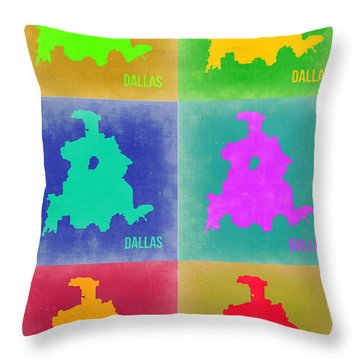 Dallas Pop Art Map 3 Throw Pillow by Naxart Studio