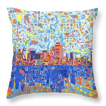 Dallas Skyline Abstract 5 Throw Pillow