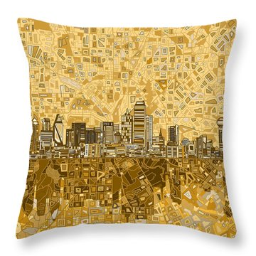 Dallas Skyline Abstract 6 Throw Pillow by Bekim Art