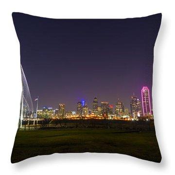 Dallas Skyline And Margaret Hunt Hill Bridge Throw Pillow