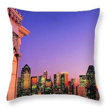 Dallas Skyline At Dusk Throw Pillow