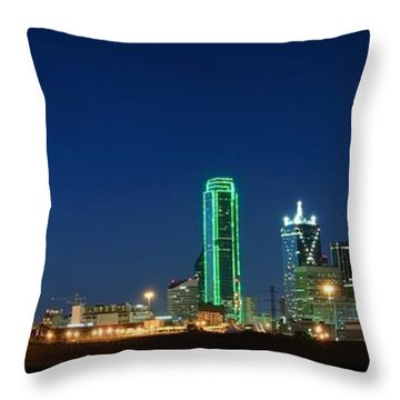 Dallas Skyline Throw Pillow by Charles Dobbs