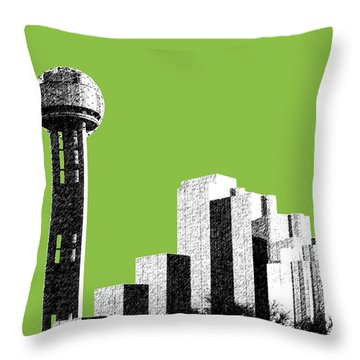 Dallas Skyline Reunion Tower - Olive Throw Pillow by DB Artist