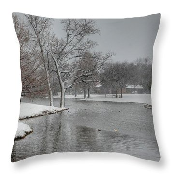 Dallas Snow Day Throw Pillow