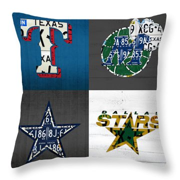 Dallas Sports Fan Recycled Vintage Texas License Plate Art Rangers Mavericks Cowboys Stars Throw Pillow